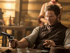 "Chris Pratt appears in a scene from ""The Magnificent Seven."""