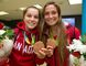 Jessie Fleming and Shelina Zadorsky show off their Olympic bronze medals from Rio 2016 in soccer. (MIKE HENSEN/The London Free Press)