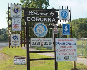 Within 24 hours of Derek Drouin's gold medal victory at the 2016 Rio Summer Olympics, St. Clair Township had already erected signs honouring his achievement. CARL HNATYSHYN/SARNIA THIS WEEK
