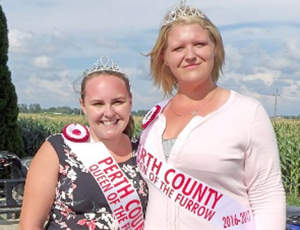 Hailey Jung, left, the 2015-16 Perth County Queen of the Furrow, and Shannon Little, the 2016-17 winner. (CONTRIBUTED PHOTO)