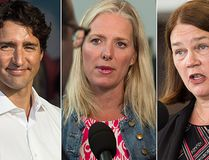 From left: Prime Minister Justin Trudeau, Environment Minister Catherine McKenna and Health Minister Jane Philpott. (The Canadian Press File Photos)