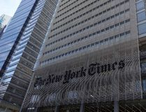 This file photo taken on April 27, 2016 shows the sign on the west side of the New York Times building at 620 Eighth Avenue in New York. (DON EMMERTDON EMMERT/AFP/Getty Images)