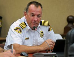 Brockville Fire Chief Ghislain Pigeon speaks to city council at its regular meeting on Tuesday. (RONALD ZAJAC/The Recorder and Times)