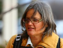 Anita Krajnc arrives at court in Burlington on Monday November 30, 2015. Krajnc faces a $5000 fine and up to ten years in prison for 'criminal mischief' for offering water to a thirsty pig headed to slaughter.