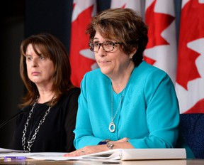 Deputy Minister of Public Works and Government Services Marie Lemay (right) and associate assistant deputy minister Rosanna Di Paola speak to reporters during a technical briefing on the Phoenix pay system on Thursday, Aug. 11, 2016 in Ottawa. CP