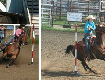 Above left: Kourtney Bjorklund of Fairview rounds the pole in Northern Redneck Riders polebending competition Sunday, Aug. 14 at the Waterhole Rodeo grounds just south of Fairview. Bjorklund earned a 22.958 time for her run. The event ran Aug. 13-14 and featured both barrel racing and polebending Above right: McKenna Pattersoin the polebending competition, her time was 25.088