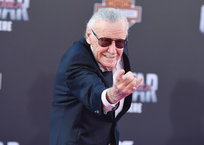 """Stan Lee arrives at the Los Angeles premiere of """"Captain America: Civil War"""" at the Dolby Theatre on Tuesday, April 12, 2016. (Photo by Jordan Strauss/Invision/AP)"""
