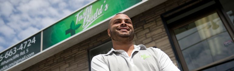 Jordan Johnson, Tasty Budd's eastern district regional manager, is one of three company representatives who were dispatched to London to reopen the shuttered dispensary. (CRAIG GLOVER, The London Free Press)