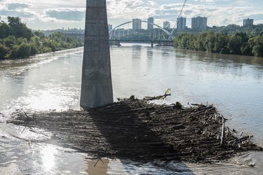High water levels in the North Saskatchewan River after two days of rain west of Edmonton increased the flow in the river basin. The river is running at 1100 cubic metres per second  on August. 24, 2016.  Photo by Shaughn Butts / Postmedia  Standalone
