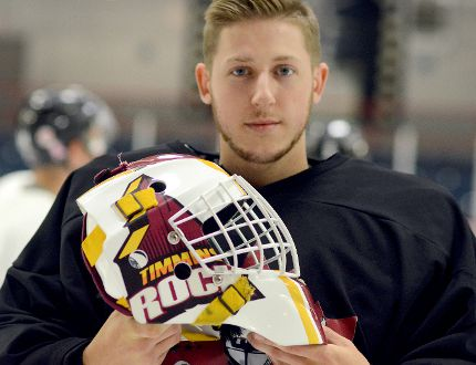Goaltender Matthew Nixon displays the new wrap around Timmins Rock logo on his mask at the start of Day 3 of the NOJHL squad's training camp at the McIntyre Arena Wednesday night. Nixon, a 19-year-old Barrie native who backed up Logan Ferrington during the 2015-16 campaign, is one of three netminders in camp looking to stack their claim on the No. 1 job. THOMAS PERRY/THE DAILY PRESS