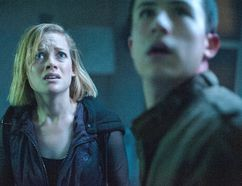 "This image released by Sony Pictures shows Jane Levy, left, and Dylan Minnette in a scene from ""Don't Breathe."""