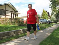April Jennings is hoping to attract more survivors to join her on her daily five-kilometre walks and raise awareness about September's annual Terry Fox Run. (Lindsay Morey/Record Staff)