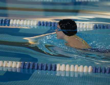 Ryley Mitchell competes in a swimming competition at the Canadian Tranplant Games in Toronto earlier this month. (Submitted)
