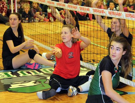 Sean Chase/Daily Observer Jolan Wong, captain of the national women's sitting volleyball team, participates in a game with Valour High School students this past December. Wong and Petawawa's Chantal Beauchesne will be competing at the 2016 Summer Paralympics in Rio de Janeiro.