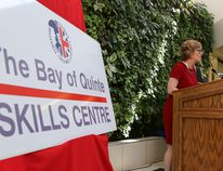 Tim Miller/The Intelligencer Loyalist College president Maureen Piercy speaks to representatives from Belleville, Quinte West, Hastings County and Prince Edward County during the naming of the Bay of Quinte Skills Centre on Friday.