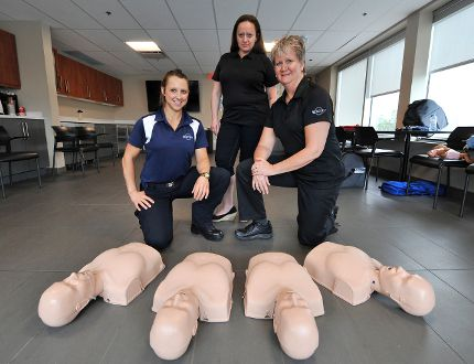 Sarah Campbell, Elaina Feyginberg and Anita Horlings of Rescue 7 offered two CPR and AED training sessions at Georgian Chevrolet on Saturday in Barrie. (Mark Wanzel Photo)