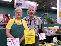 Mary and Gord Swan of Swan's Produce at the Brantford Farmers' Market willl retire Sept. 3. (Shannon Coulter/The Expositor)