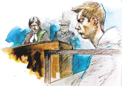 A sketch of Brett Ryan in court on Aug. 26, 2016.  (PAM DAVIES ILLUSTRATON)
