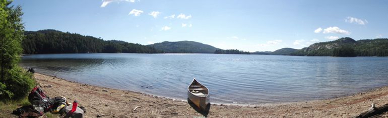A wide beach and beautiful vista await those who portage into O.S.A. Lake from Killarney Lake. (Jim Moodie/Sudbury Star)
