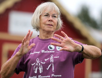 """Rose MacGregor participates in a demonstration celebrating Sault Ste. Marie Taoist Tai Chi Association's 30th anniversary at Mill Market on Saturday. MacGregor is an 11-year member. Tai chi """"makes you feel really good,"""" she said. """"Everybody gets along. It's like a big family."""" The group met at locations on Korah Road, Queen Street East and Sault Ste. Marie YMCA before moving to their current location on Cunningham Road in 2008. Call 705-256-8705 or email sault@taoist.org"""