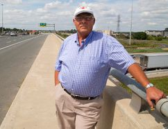 Dennis Alsop Jr. stands on the Wellington Road bridge over Highway 401, the last place 15-year-old Jackie English was seen alive, getting into a car back in 1969. The English case stayed in his father's mind for the rest of his career, as shown in his diaries, that Alsop Jr. gave to the OPP two years ago. Alsop is suing the OPP for his dad's diaries. (MIKE HENSEN, The London Free Press)