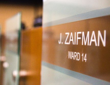 Jared Zaifman's ward 14 seat sits empty, due to Zaifman being away from council in London, Ont. on Tuesday August 30, 2016. (MIKE HENSEN, The London Free Press)