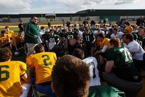Curtis Martin (left), Bev Facey's head coach, speaks during the first day of Football Alberta's North Selection Camp for the 26th annual Senior Bowl High School Football All-Star Game at Foote Field at the University of Alberta in Edmonton, Alta., on Friday, April 10, 2015.
