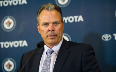 Winnipeg Jets general manager Kevin Cheveldayoff speaks to the media during a press conference in Winnipeg on Wednesday, August 31, 2016. THE CANADIAN PRESS/David Lipnowski
