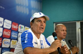 Honduras coach Jorge Luis Pinto takes questions from the press in the Olimpico Metropolitano stadium in San Pedro Sula, Honduras on Sept. 1, 2016, ahead of Friday's CONCACAF qualifier match with Canada. (AFP PHOTO/ORLANDO SIERRA)