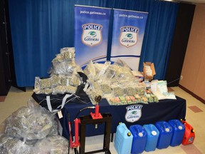 Drugs and cash seized by Gatineau police Thursday night. POLICE HANDOUT