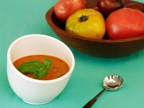 Grilled Tomato Gazpacho with Watermelon and Mint. The watermelon adds a touch of sweetness and the mint perks everything up.