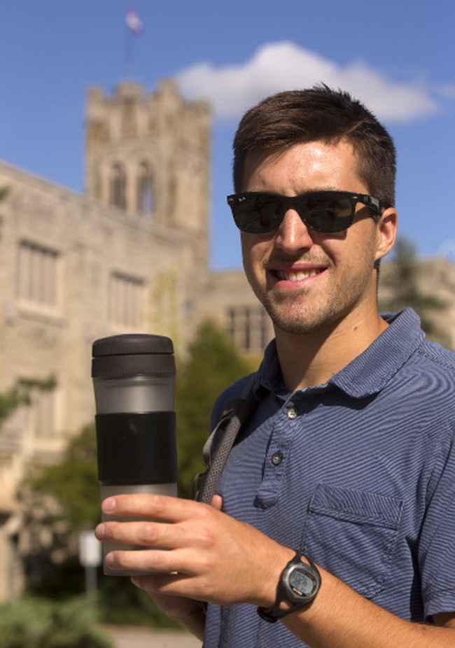 Alan Kalbfleisch a Western student has marketed his Pascal press for coffee to go in London, Ont. on Friday September 2, 2016. Mike Hensen/The London Free Press/Postmedia Network