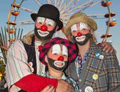 <p>Brent Reeder (left) of New Hamburg, his son Brandon and daughter Terry Lynn brought smiles to the faces of people at the Paris Fair on Sunday September 4, 2016 in Paris, Ontario. Brent's late father was Smokey the Clown, a mainstay at the fair for years, and the trio are carrying on the tradition. Brian Thompson/Brantford Expositor/Postmedia Network