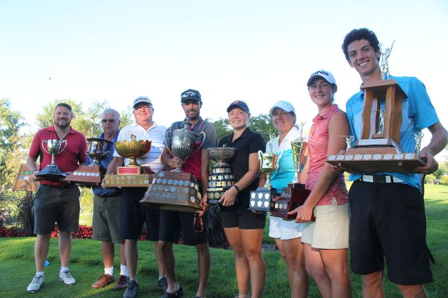 <p>The Cornwall Golf and Country Club helds its club championship with these members winning, from left, Rick Watertod, men's C class; Nick Ashby, B; Mike McCullough, A; Mat Rochon, open; Robyn Campbell, ladies open; Catherine Gagnon, A; Melanie Carriere, girls junior; and Nick Valiquette, boys junior on Monday September 5, 2016 in Glen Walter, Ont. Greg Peerenboom/Cornwall Standard-Freeholder/Postmedia Network