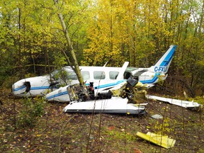 The wreckage of the Keystone Air Services Ltd. airplane in Thompson, Manitoba is shown in a Transportation Safety Board handout photo. A plane that crashed in northern Manitoba, sending eight people to hospital, had the wrong fuel. (FILE PHOTO)