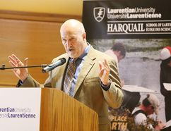<p>Dr. Harold Gibson, director of MERC and head of Metal Earth, speaks to the crowd after receiving a cheque for $49,269,000 in funding for the Metal Earth project initiative at Laurentian University in Sudbury, Ont. on Tuesday September 6, 2016. Gino Donato/Sudbury Star/Postmedia Network