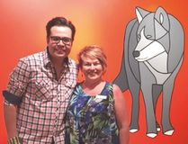 Artist Jason Carter stands with Mayor Roxanne Carr at the unveiling of his Gallery@501 exhibit. Photo Supplied