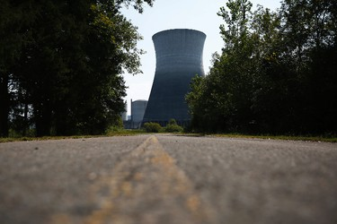 In this Wednesday, Sept. 7, 2016 photo, two cooling towers can be seen at the Bellefonte Nuclear Plant, in Hollywood, Ala. After spending more than 40 years and $5 billion on an unfinished nuclear power plant in northeastern Alabama, the nation's largest federal utility is preparing to sell the property at a fraction of its cost. (AP Photo/Brynn Anderson)