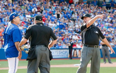 Blue Jays manager John Gibbons gets ejected in the 9th after questioning a call as the Toronto Blue Jays lose to the Boston Red Sox at the Rogers Centre in Toronto, Ont. on Sunday September 11, 2016. Stan Behal/Toronto Sun/Postmedia Network