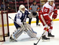 Soo Greyhounds centre Liam Hawel and Sudbury Wolves goaltender Jake McGrath watch the play during first-period Ontario Hockey League exhibition play Sunday, Sept. 11, 2016 at Essar Centre in Sault Ste. Marie, Ont. JEFFREY OUGLER/SAULT STAR/POSTMEDIA NETWORK
