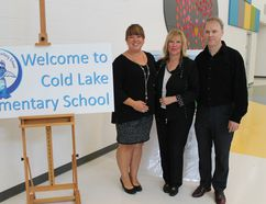 The 2016/2017 school year marks Kathy McKale's 15th year of serving as principal at Cold Lake Elementary School (CLES). In honour of the milestone, McKale (middle in photo) and a couple of her colleagues (Lisa Gingras and Michael Fleming, left and right in photo) reflected upon the multitude of accomplishments she's had over the past 15 years, the memories she's made, the lasting friendships she's built, how she became known as 'Canada's most passionate principal', and how she's helped CLES to positively grow and continually live out its mission of being 'the School with a Heart'.