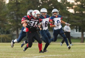 Vermilion Marauders' Brayden Chillibeck runs the ball towards the Bonneville Voyageurs' end zone, during their first home game of the Wheatland Football League on Friday, Sept. 2 , in Vermilion, Alta. Taylor Hermiston/Vermilion Standard/Postmedia Network.