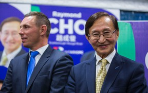 Ontario PC Leader Patrick Brown (left) joins Scarborough-Rouge River byelection winner Raymond Cho at his campaign headquarters in Toront September 1, 2016. (Ernest Doroszuk/Toronto Sun)
