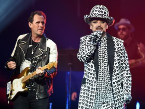 Guitarist Roy Hay (L) and singer Boy George of Culture Club perform last month in Las Vegas. The band will play MTS Centre in November. (Photo by Ethan Miller/Getty Images)