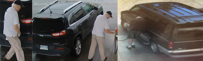 Surveillance image of a suspect in a series of gas thefts.