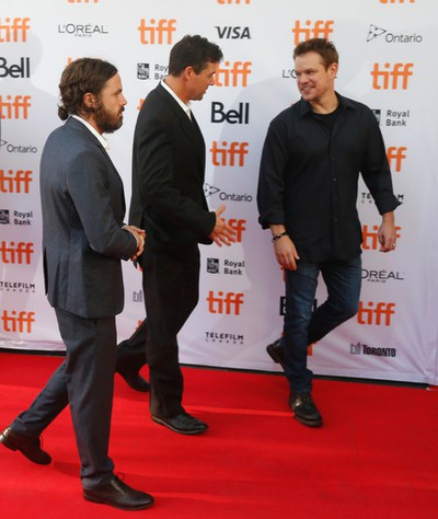 The cast and director arrive at the premiere of Manchester by the Sea - Casey Affleck (L) Kyle Chandler and Matt  Damon - during the Toronto International Film Festival 2016 in Toronto on Tuesday September 13, 2016. Jack Boland/Toronto Sun/Postmedia Network