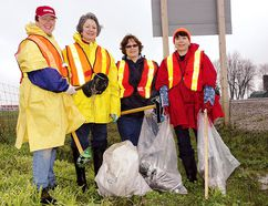 A cleanup crew from the Talbot Trail Optimist Club was on the job picking up litter on Highway 3, just east of the St. Thomas Airport in this file photo. Ready with garbage bags and other tools are, from left - Fran Wren, Maria Cupples, Moira Nichols and Ruth Quenneville.