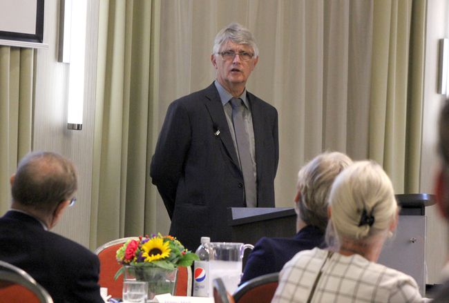 Over 50 people took part in the Economic Development and Innovation Summit hosted by Bruce Power and Bruce County in Kincardine on Sept. 14, 2016. Pictured: Former Ontario Deputy Minister Michael Fenn speaks during the Economic Development and Innovation Summit hosted by Bruce Power and Bruce County in Kincardine on Sept. 14, 2016. (Troy Patterson/Kincardine News)