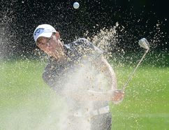 Aaron Wise of Lake Elsinore California, hits out of a sand trap during the second round of the Freedom 55 Financial Championship at the Highlands Country Club in London, Ontario on Friday September 16, 2016. (MORRIS LAMONT, The London Free Press)