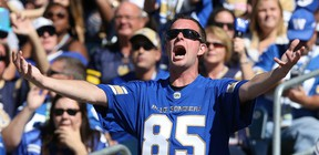 A Winnipeg Blue Bombers fan calls the defence to action against the Toronto Argonauts during CFL action in Winnipeg on Sat., Sept. 17, 2016. A recent survey found most fans are predicting the Bombers will win the Grey Cup this year. (Kevin King/Winnipeg Sun/Postmedia Network)